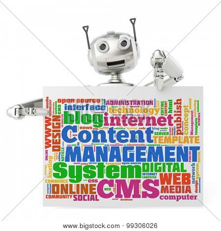 Cute robot holding CMS tag cloud on a billboard sign (3D Rendering)