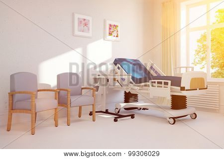 Bright hospital room with clinic bed on a sunny day (3D Rendering)