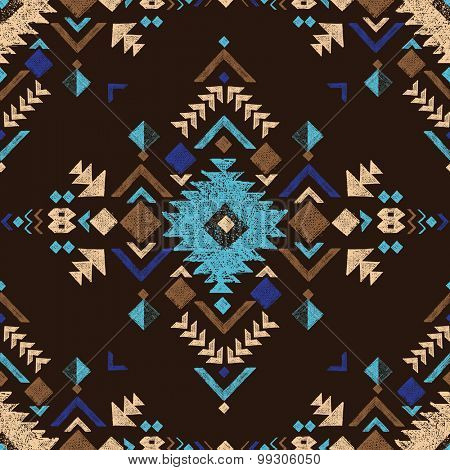 hand drawn black colorful tribal seamless pattern