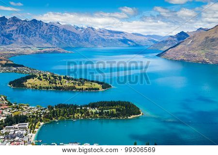Aerial view of Queenstown in South Island, New Zealand