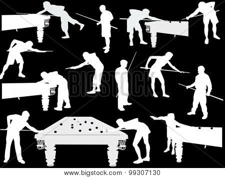 illustration with men playing billiards isolated on black background