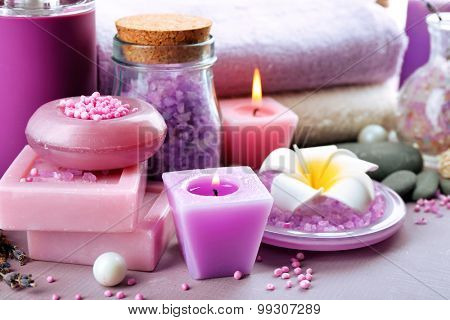 Spa treatments on colorful background. Lavender spa concept