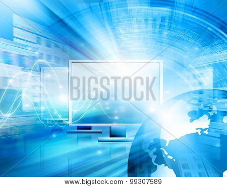 Best Internet Concept of global business from concepts series. Technology background.Electronics, bright lines and rays, symbols of the Internet, radio, television, mobile and satellite communications