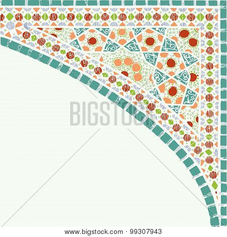 Geometric Corner Frame Pattern Ethnic Tile Colorful Background Vector