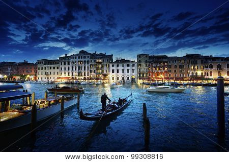 Grand Canal in sunset time, Venice, Italy