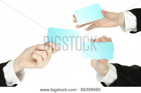 Collage of business card in hand, isolated on white