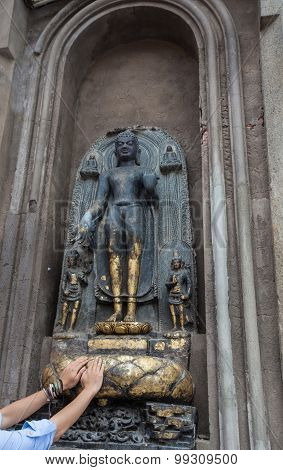 A Buddha Statue Near Mahabodhi Temple