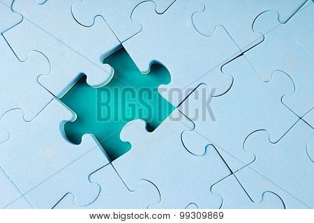 Missing puzzle piece, closeup