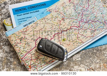 Car Remote Key, Map And Rental Agreement