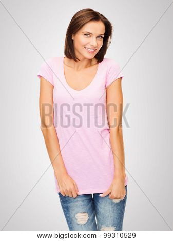 t-shirt design concept - smiling woman in blank pink t-shirt
