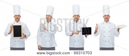 cooking, profession and people concept - happy male chef cook with tablet pc computer, blank menu board, plate and showing thumbs up gesture