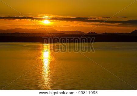 Sunset ocean beach.