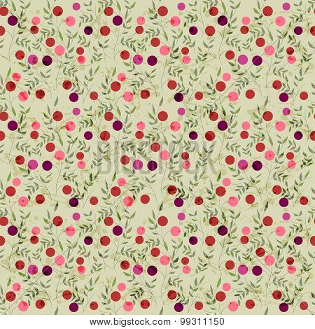 Seamless pattern with red berries and leaves on beige background