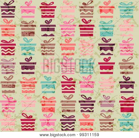 Seamless pattern with red,pink and green gift boxes