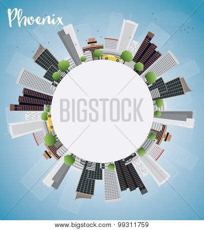 Phoenix Skyline with Grey Buildings, Blue Sky and copy space. Vector Illustration