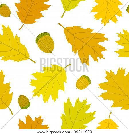 Seamless pattern of Canadian oak leaves and acorns. Autumn background.