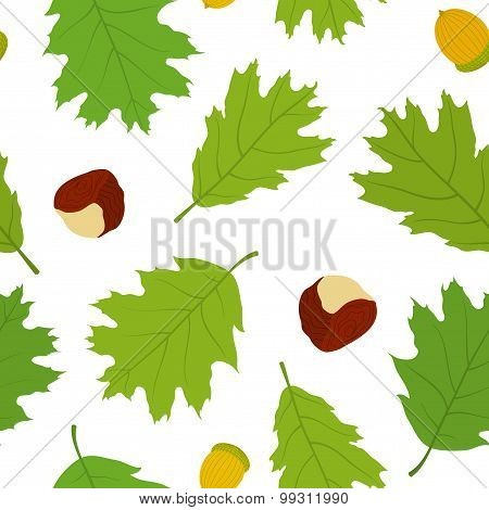 Seamless pattern of Canadian oak's leaves, acorns and chestnuts.