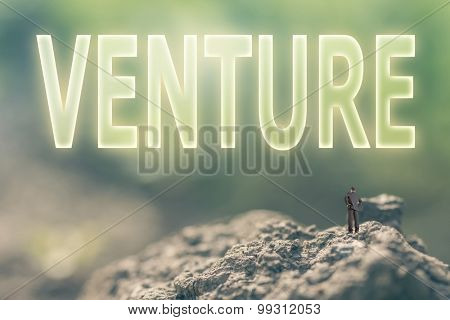 Concept of risk with a person stand in the outdoor and looking up the text over the sky in nature background.