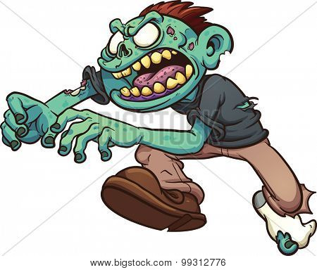 Running cartoon zombie. Vector clip art illustration with simple gradients. All in a single layer.