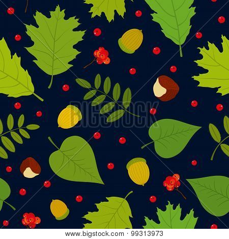 Seamless pattern with rowan berries, leaves, acorn, chestnut. Vector set. Dark blue background.