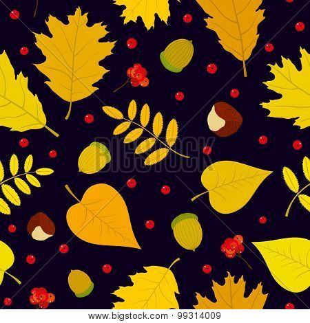 Autumn seamless pattern with rowan berries, leaves, acorn, chestnut. Vector set. Dark blue backgroun