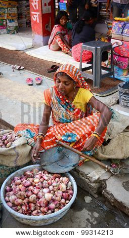 Indian Women Selling Vegetables In A Market