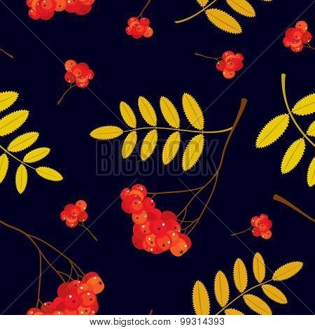 Autumn seamless pattern with red and orange Rowan berries and leaves. Vector illustration. Dark blue