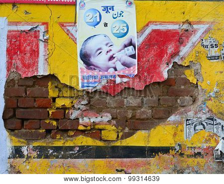 Old Poster Wall In Agra, India