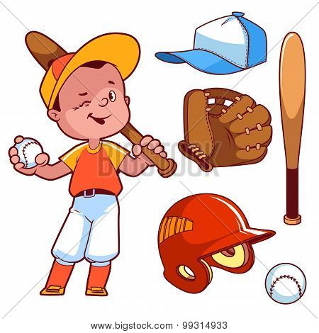Cartoon Boy Playing Baseball. Baseball Equipment. Vector Clip Art Illustration On A White Background