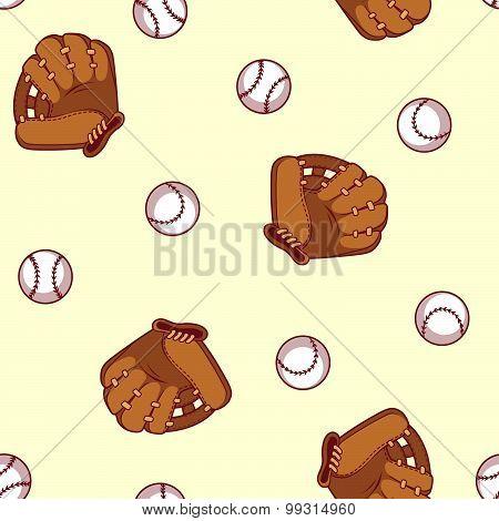 Baseball Seamless Pattern. Glove And Ball For A Baseball.