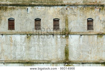 Windows In The Wall Of The Old Building