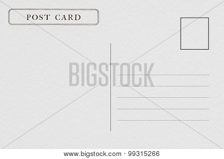 Back of blank postcard