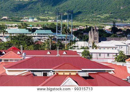 Red Rooftops And Stone Church In Basseterre