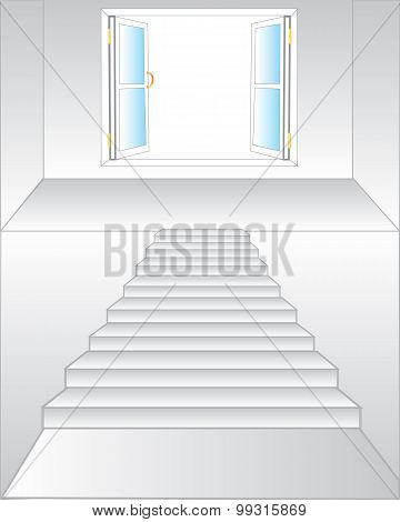 Stairway to window