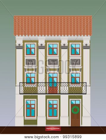 Dwelling house in Classicism style. Classical town architecture. Vector building.