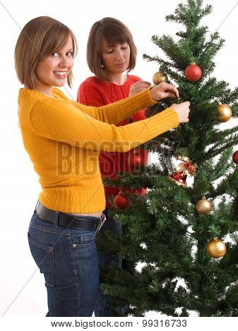 Women And Christmas Tree