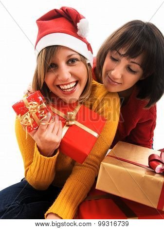 Friends Exchanging Christmas Presents