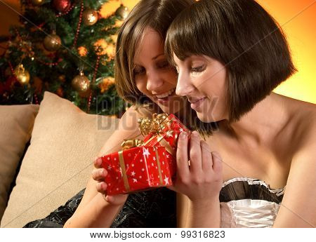 Young Women With Christmas Presents