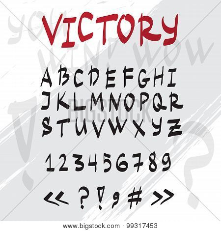 Vector hand drawn graffiti latin alphabet. Handwritten doodle font.