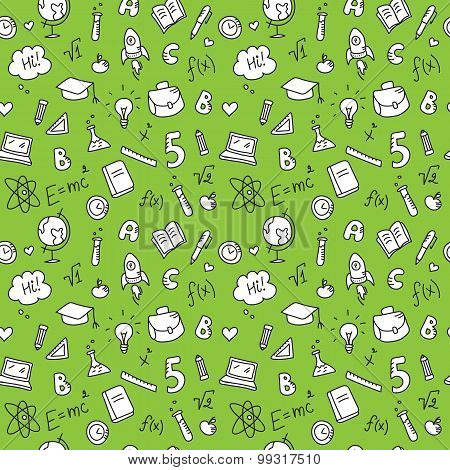 Vector hand drawn stationary seamless pattern. Cute back to school green background