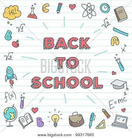 Vector back to school illustration. Bright study poster with doodle icons