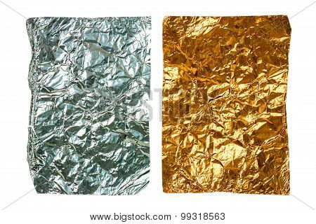 Two Crumpled Pieces Of Aluminum Foil