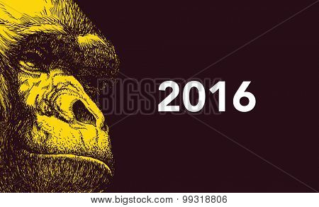 The year of monkey. Chinese new year 2016. Vector illustration.