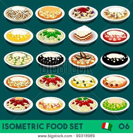 Pasta Set Food Isometric