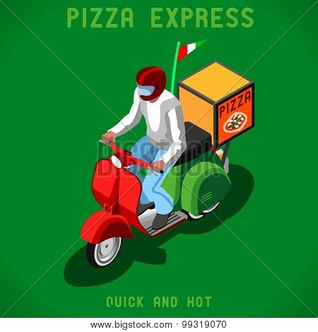 Pizza Delivery People Isometric