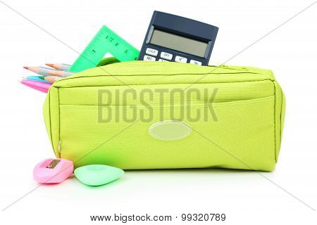 Pencil case full of school supplies isolated on white