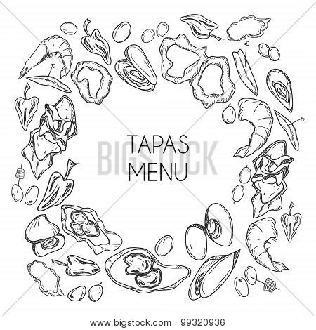 Vector tapas menu for bar and restaurants. Style black and white background. Spanish cuisine. Appetizer set