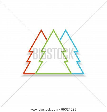 Christmas Trees In Different Colors. Vector Illustration.