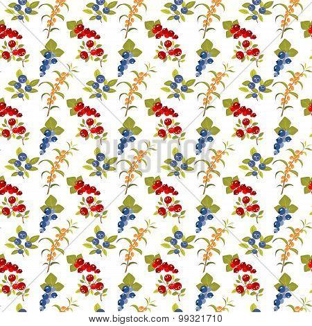 Berries White Seamless Pattern