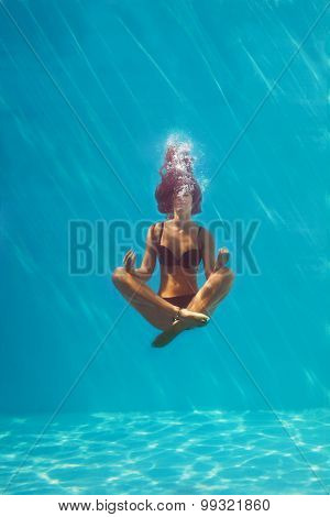 young woman in black bikini in yoga position underwater in diving aquarium, full body shot, front view through the glass